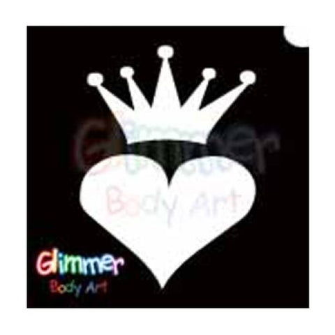 Glimmer Body Art Crowned Heart Stencils (5/pack)