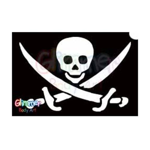 Glimmer Body Art Pirate Skull Sword Stencils (5/pack)