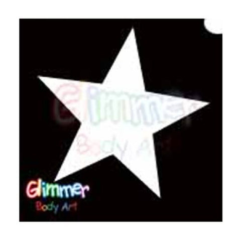 Glimmer Body Art Solid Star Glitter tattoo Stencils (5/pack)