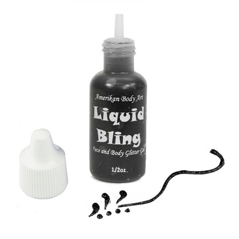 Amerikan Body Art Jet Black Liquid Bling Glitter  (0.5 oz)