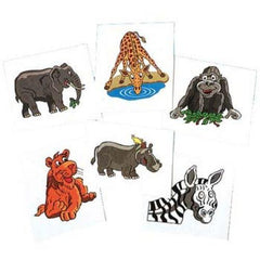 Kids 144 Pack Wild Animals Temporary Tattoos