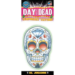 Tinsley Transfers El Juegador Day Of The Dead Temporary Tattoo