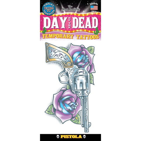 Tinsley Transfers Pistola Day Of The Dead Temporary Tattoo