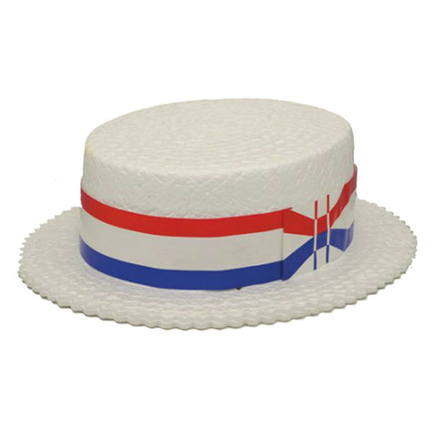 White Full Size Foam Skimmer Hat (Jacobson Hat)