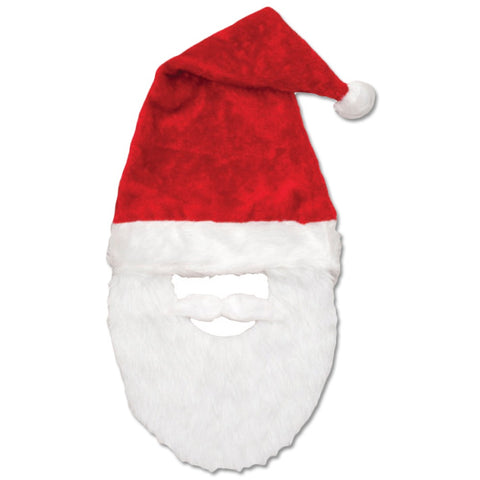 Plush Santa Hat With Beard and Mustache (Jacobson Hat)