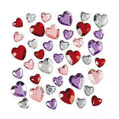 Plastic Jewel Face & Body Blings - Hearts, Assorted (30/pack)