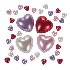 Self Adhesive Plastic Face & Body Blings - Pearl Hearts (100/pack)