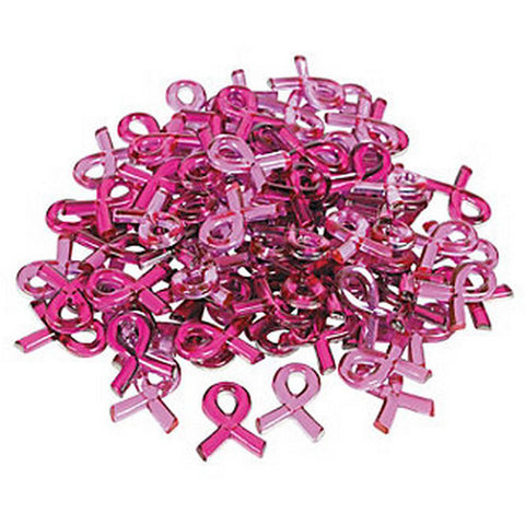 Self Adhesive Plastic Face & Body Blings - Pink Ribbon (50/pack)