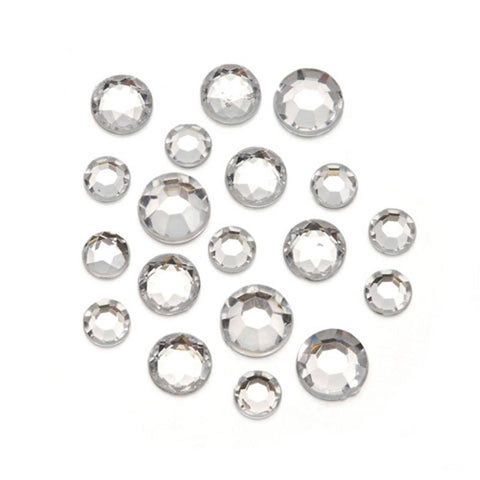 Acrylic Rhinestone Blings - Round, Clear (8 - 11mm, 1 lb/pack)