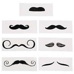 Life Size Temporary Moustache Assorted Pack (12/pack)