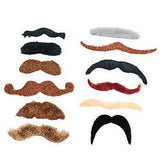Polyester Temporary Moustache Assorted Pack (12/pack)