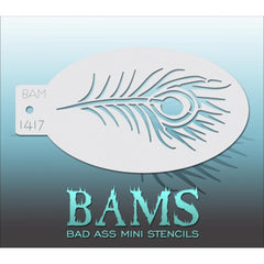 Bad Ass Mini Stencils - BAM1417 - Peacock Feather