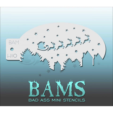 Bad Ass Mini Stencils - BAMH10 - Santa's Sled