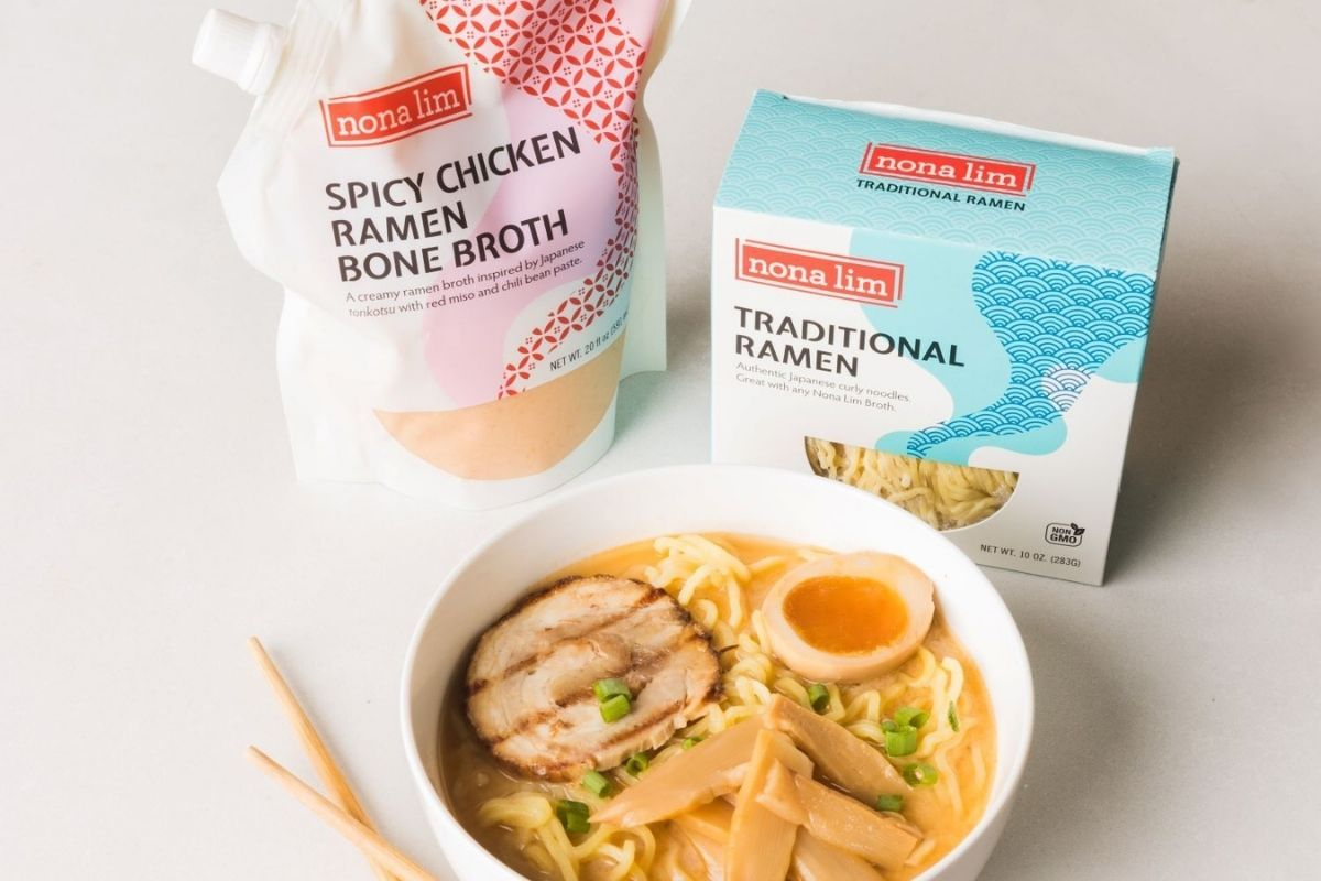 tokyo ramen pack, chicken broth, and bowl of ramen from Nona LIm