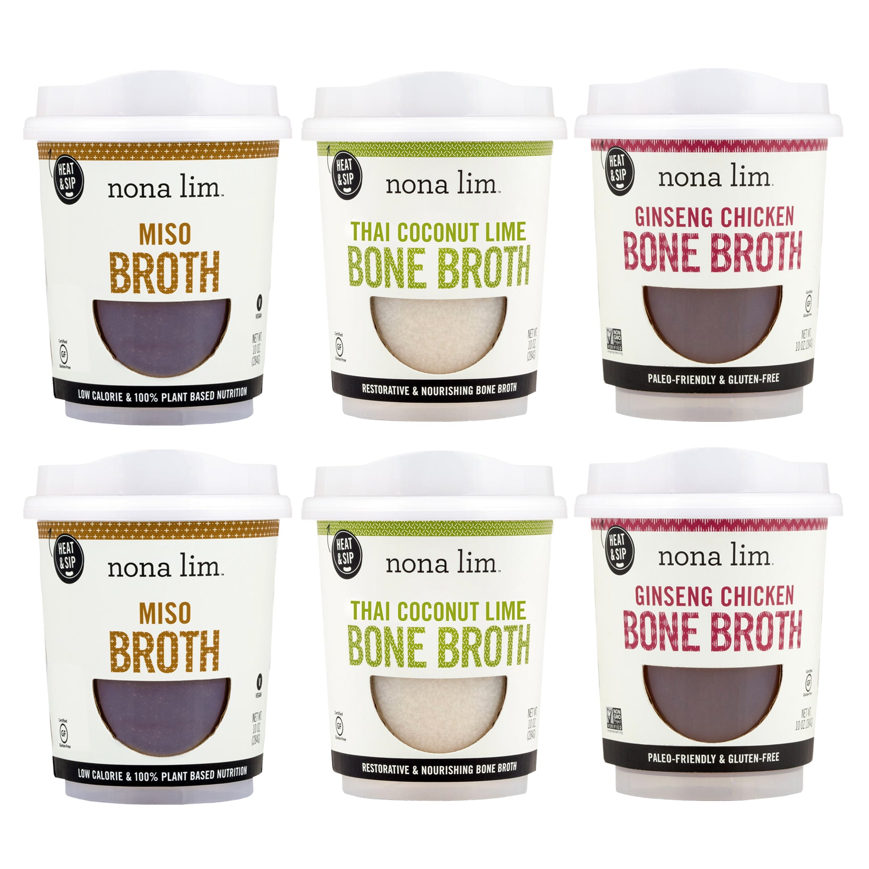 Nona Lim Better Soon Cold & Flu Care Kit Miso Broth, Thai Coconut Lime Broth, Ginseng Chicken Bone Broth Heat and Sip Soup Cups. Gluten free and Dairy free.