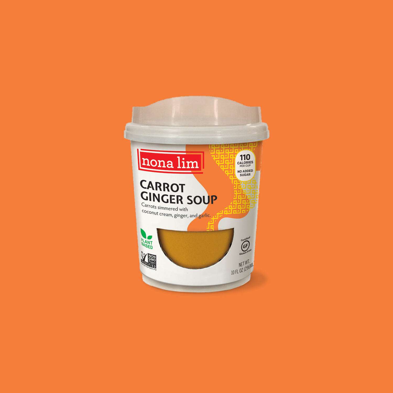 Nona Lim Carrot Ginger Heat and Sip Soup Cup. Vegan, Gluten free, Dairy free and Non GMO.