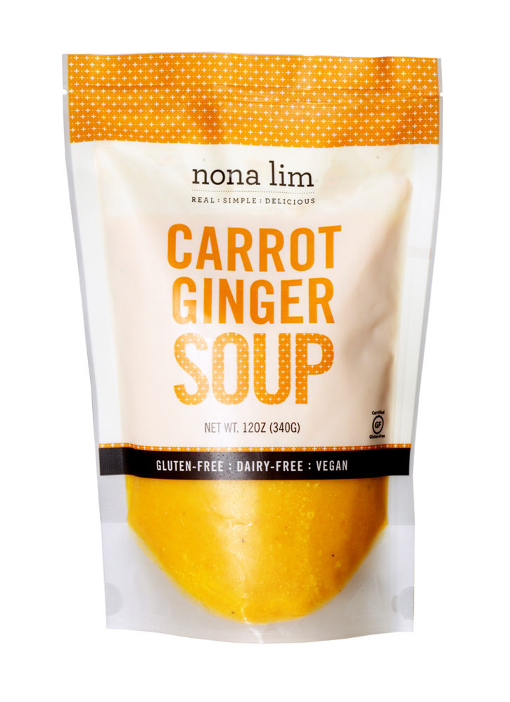 Nona Lim Carrot Ginger Soup Pouch. Vegan, Gluten free, Dairy free and Non GMO.