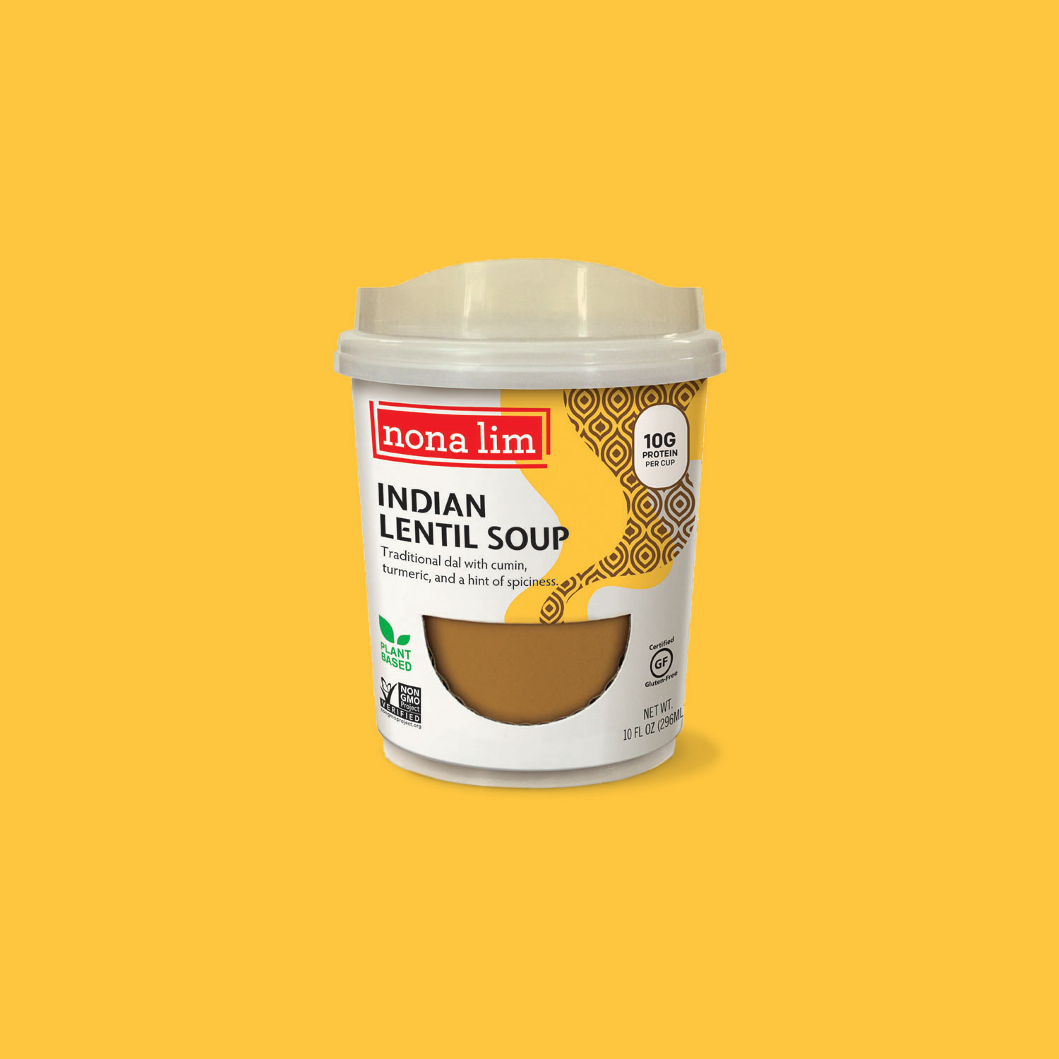 Nona Lim Indian Lentil Soup, Heat and Sip Soup Cup. Vegan, Gluten free, Dairy free and Non GMO.