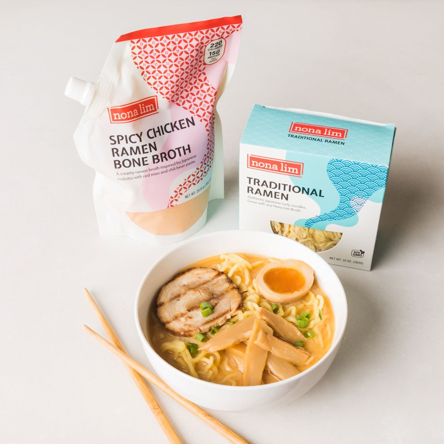Nona Lim Traditional Ramen with Spicy Chicken Ramen Bone Broth