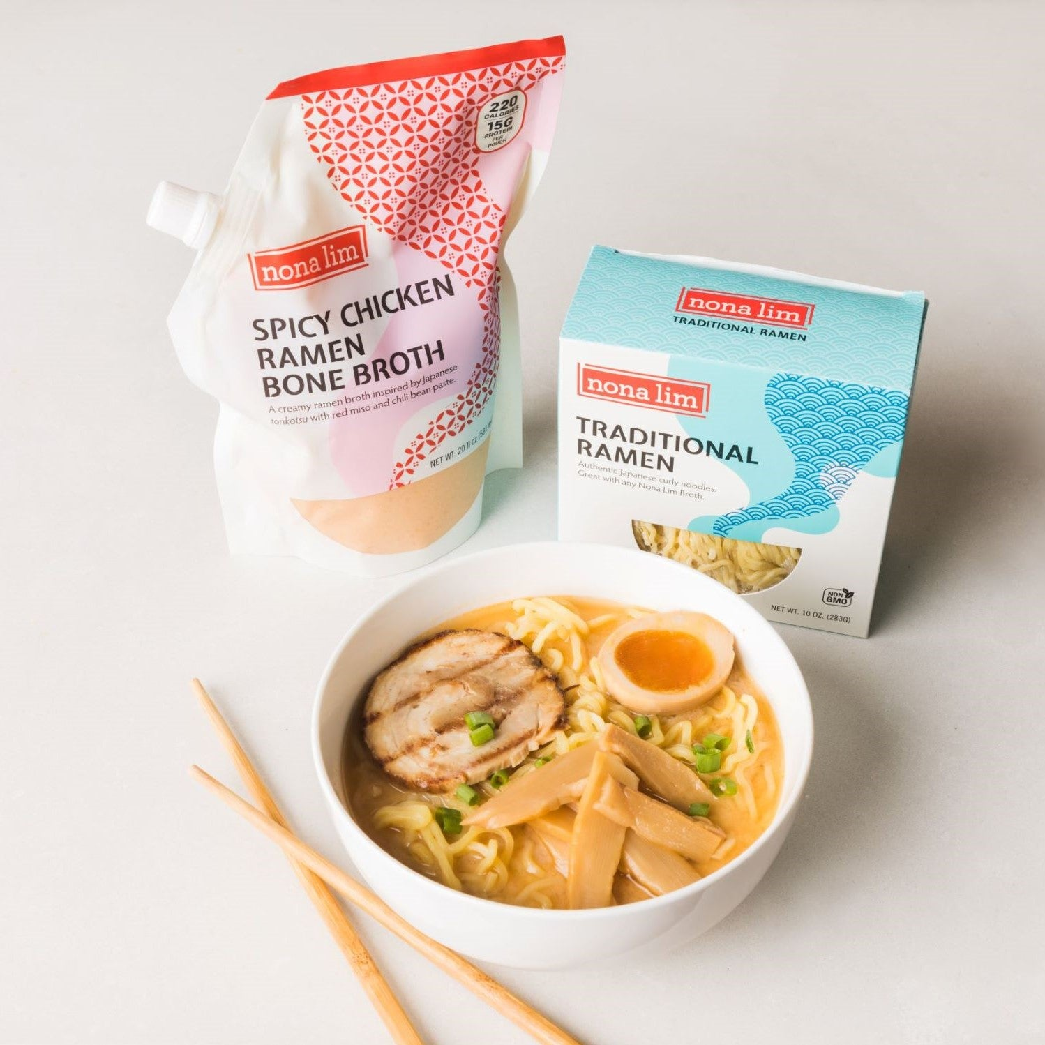 Nona Lim Spicy Chicken Ramen Bone Broth and fresh traditional ramen noodles