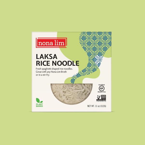 Nona Lim Fresh spaghetti shaped Laksa rice noodles.  Vegan, Gluten Free, Dairy Free and Non GMO.