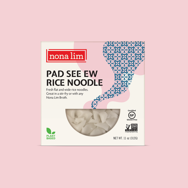 Nona Lim Fresh Pad See Ew Rice Noodles. Wide, flat rice noodles. Vegan, Gluten Free, Dairy Free and Non GMO.