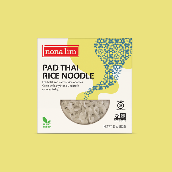 Nona Lim Fresh Pad Thai Rice thin and flat shaped noodles. Vegan, Gluten Free, Dairy Free and Non GMO.