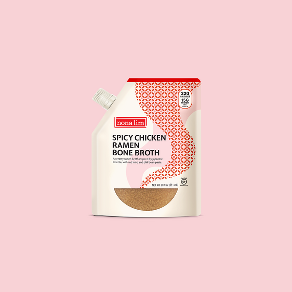 Nona Lim Japanese Spicy Chicken Ramen Bone Broth Pouch. Gluten free and Dairy free