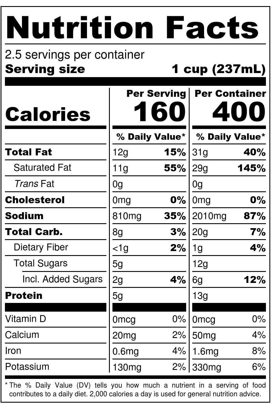 Nona Lim Coconut Lime Chicken Bone Broth Pouch Nutrition Facts