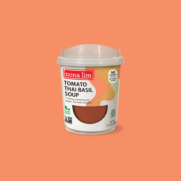 Nona Lim Tomato Thai Basil Soup, Heat and Sip Soup Cup. Vegan, Gluten free, Dairy free and Non GMO