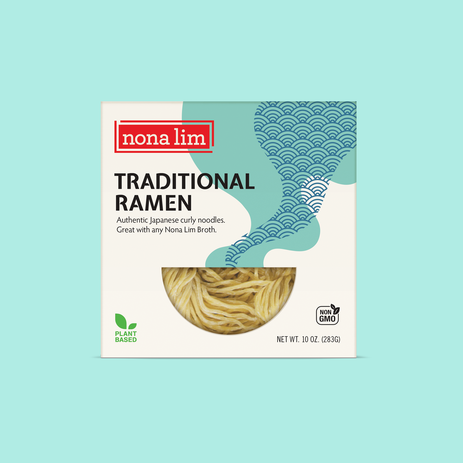 Nona Lim Traditional thin and yellow curly ramen noodles. Vegan, Dairy Free and Non GMO.
