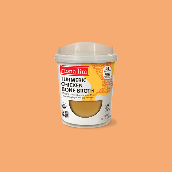 Nona Lim Turmeric Chicken Bone Broth, Heat and Sip Soup Cup