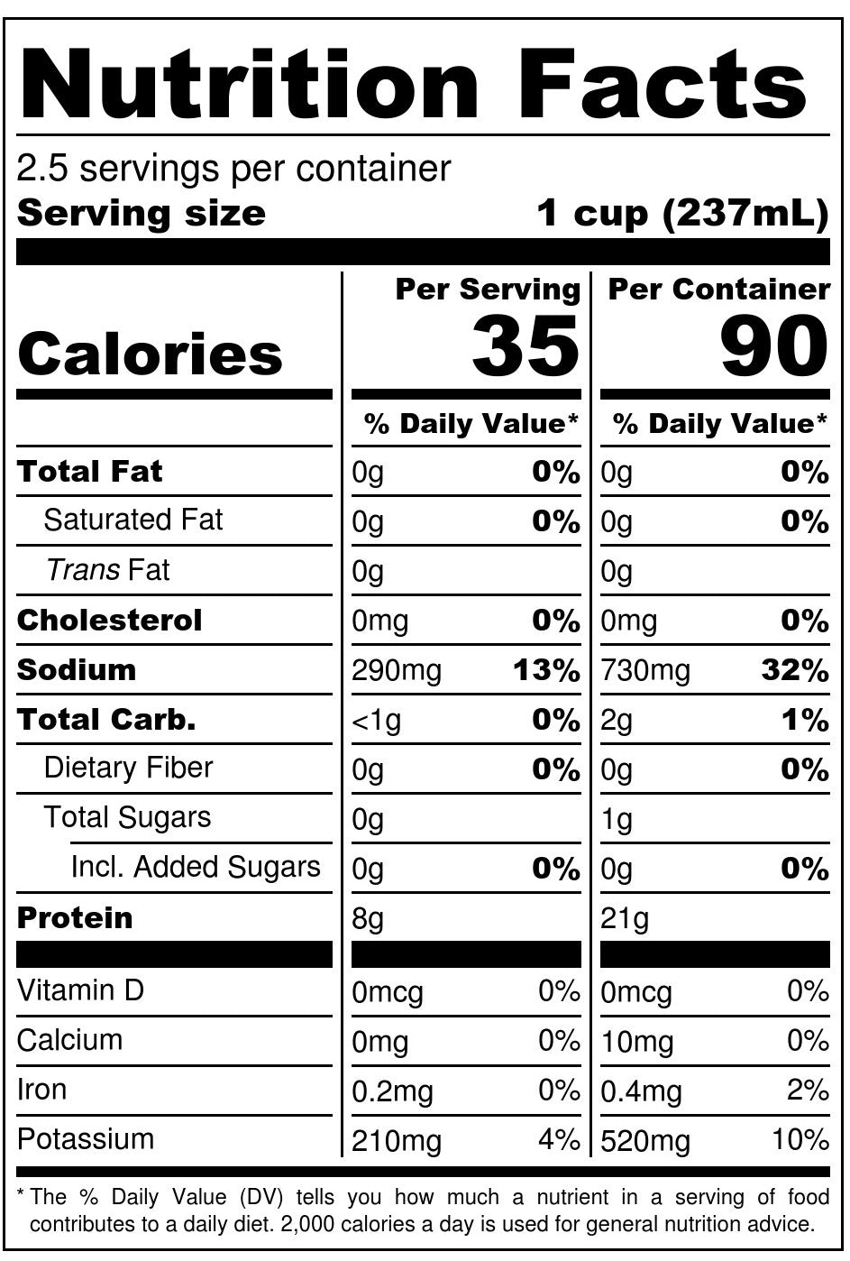 Nona Lim Turmeric Chicken Bone Broth Pouch Nutrition Facts