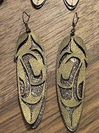 Feather Earrings - Leather 2.75""