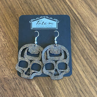 Skull Earrings - Metallic Leather