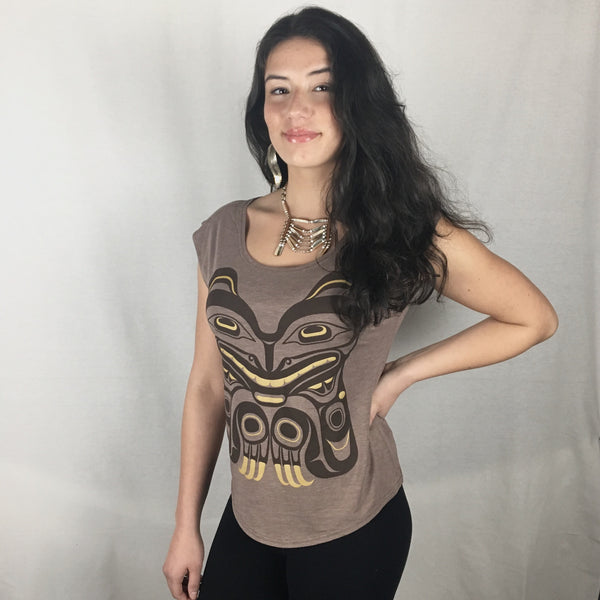 Womens Cap-sleeve Bamboo Top - Bear Mother motif