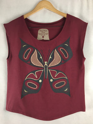 Womens Cap-sleeve Bamboo Top - BUTTERFLY/graphite metallic