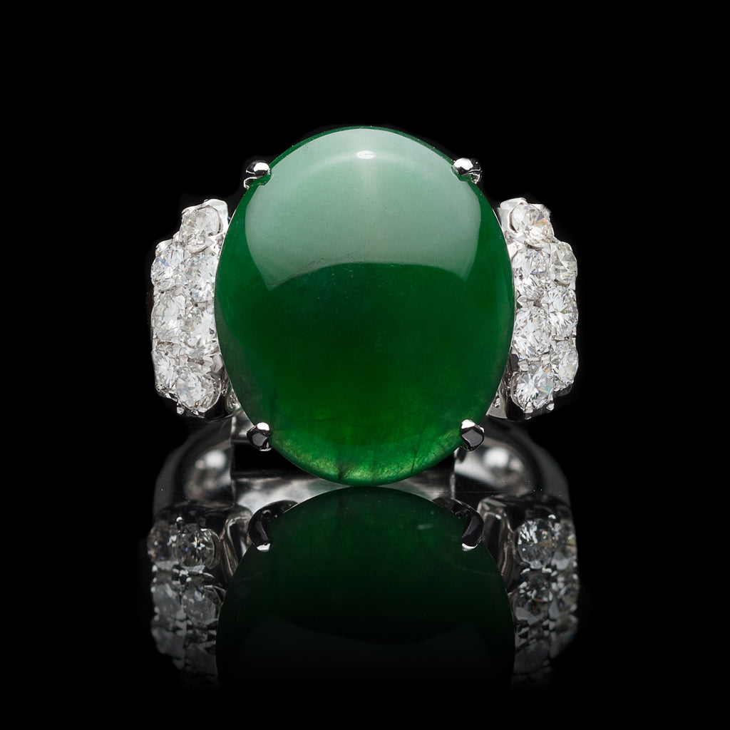 c435db581bd38 Exceptional GIA Natural Jadeite Imperial Jade & Diamond Ring