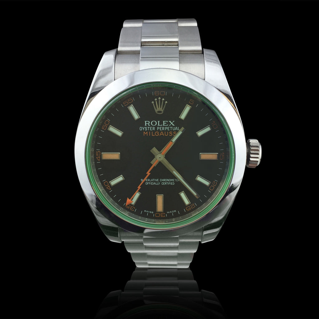 Rolex Milgauss Stainless Steel Black Dial Green Crystal Wristwatch
