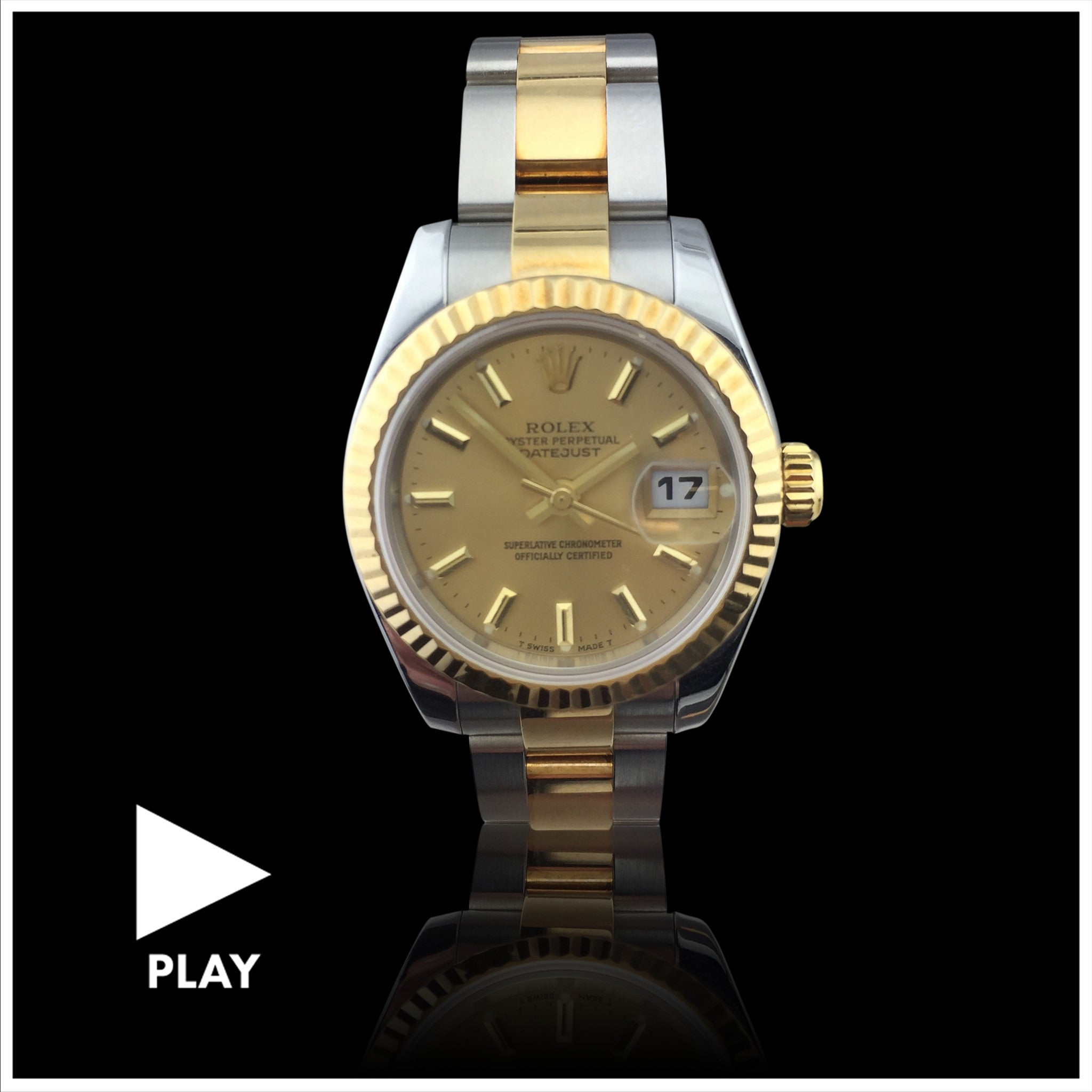 Rolex Two Tone Ladies Datejust Oyster Bracelet Wristwatch