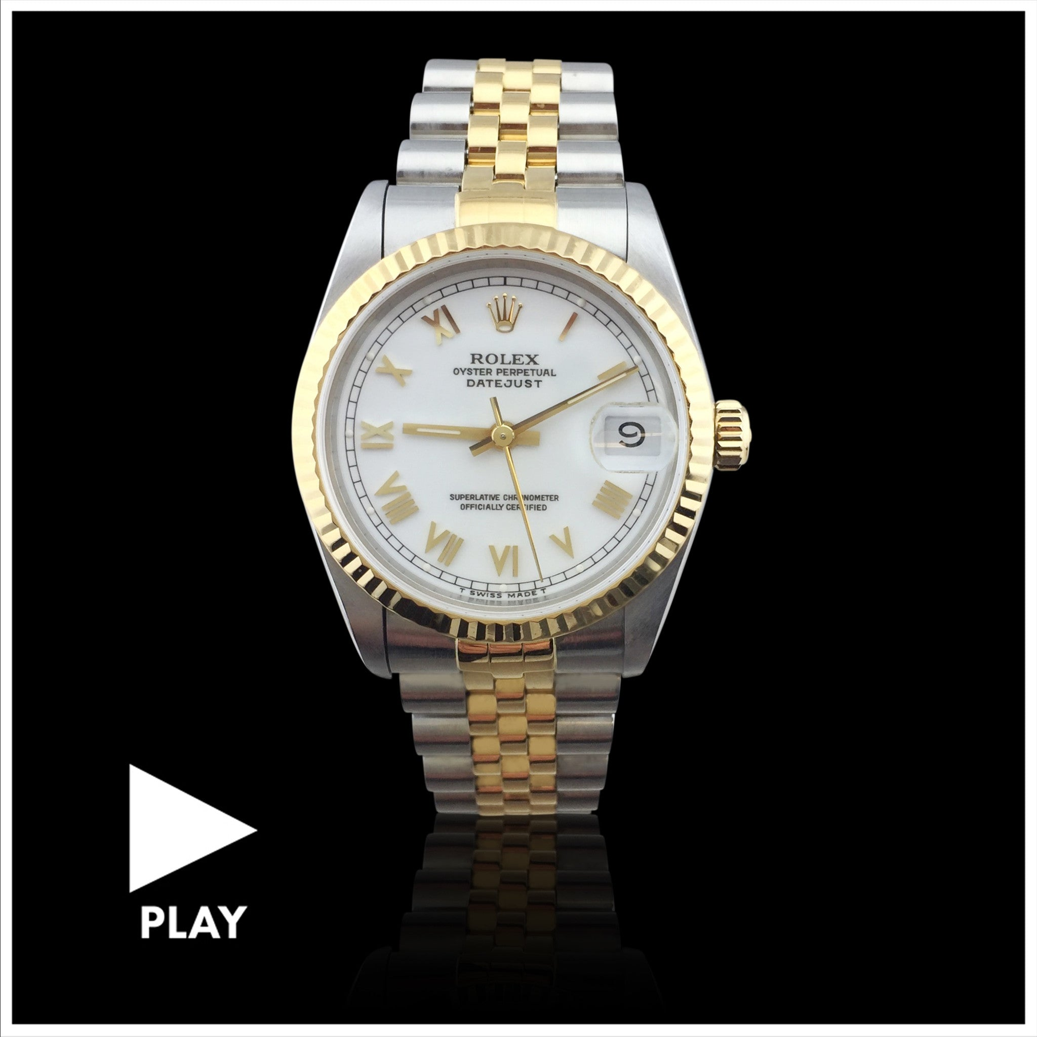Rolex Mid-Size Two Tone Datejust Wriswatch