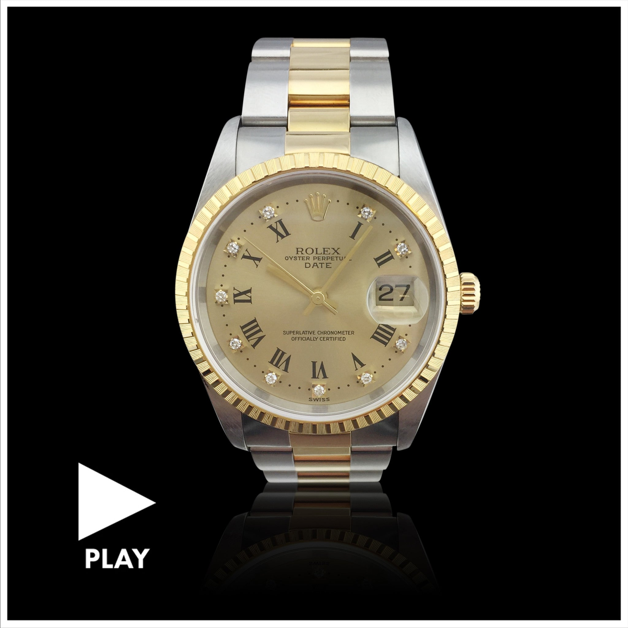 Rolex Two Tone Oyster Perpetual Date Wristwatch