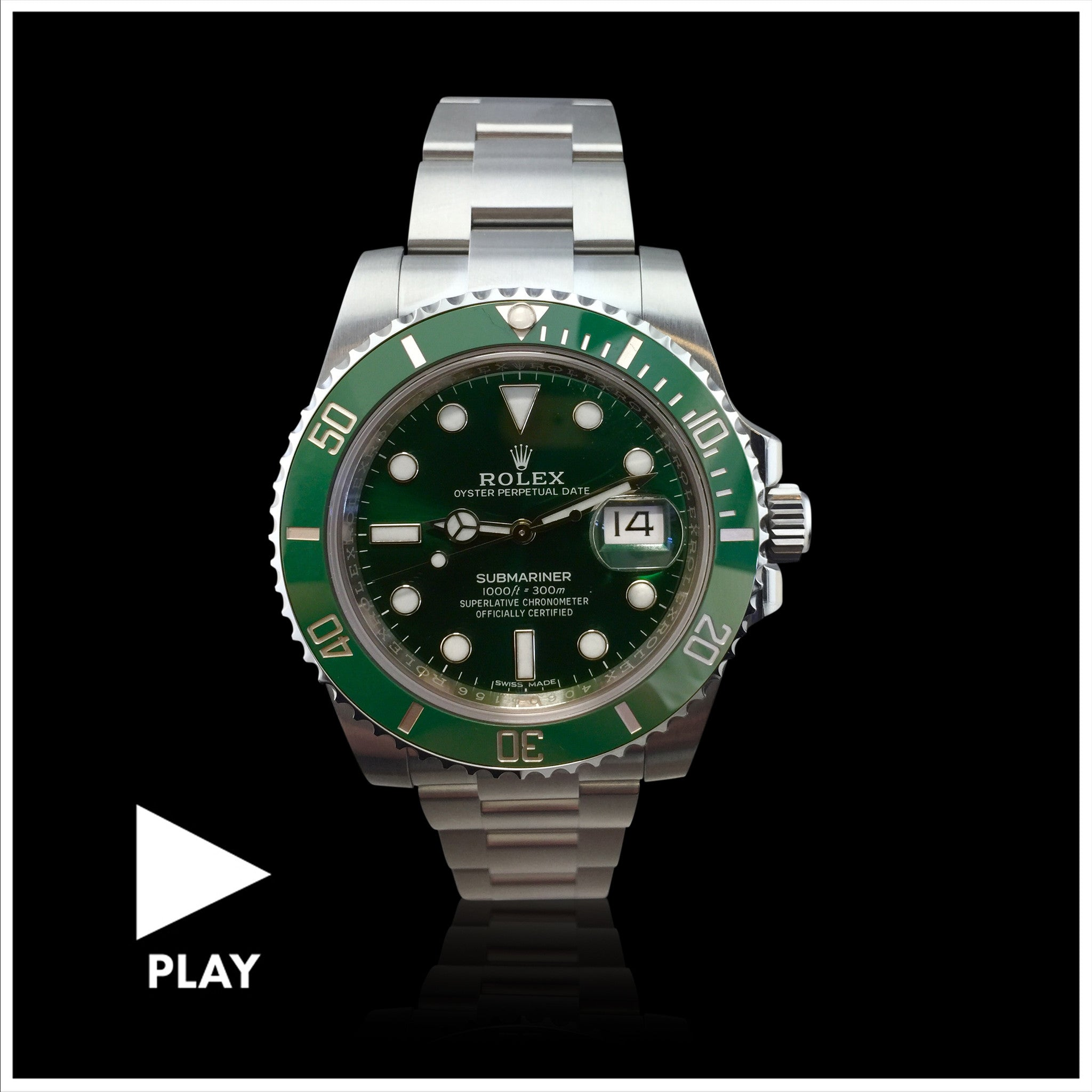 Rolex Submariner Date Green Hulk Stainless Steel Wristwatch
