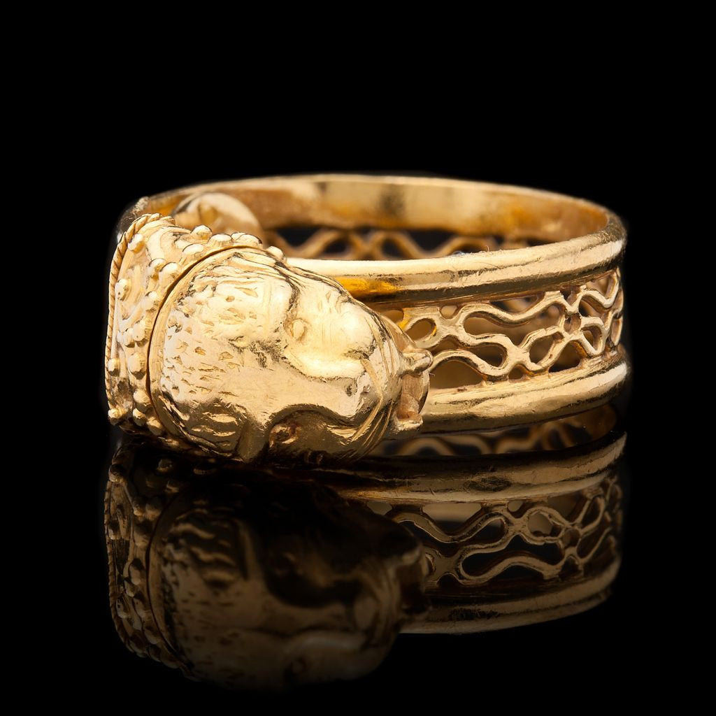 davieslee gift face gold rings store cut from product african jewelry vintage s men women for lion king original head stainless steel princess chrismas retro ring