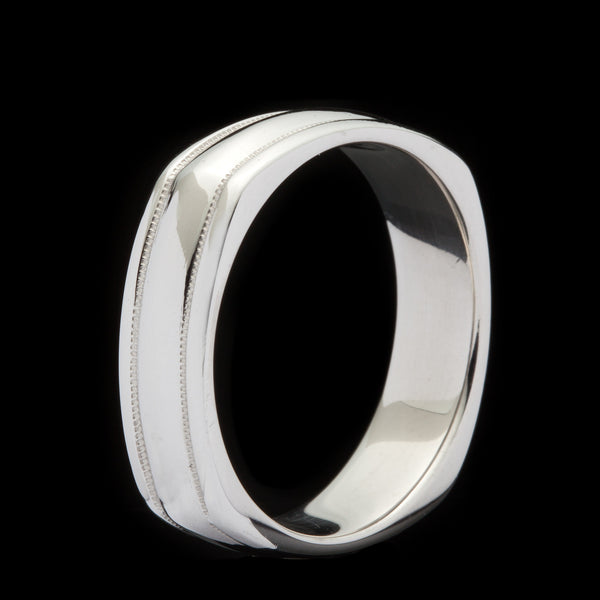 New With Tags Scott Kay Platinum Mens 6mm Wedding Band: Men's Platinum Scott Kay Band Ring
