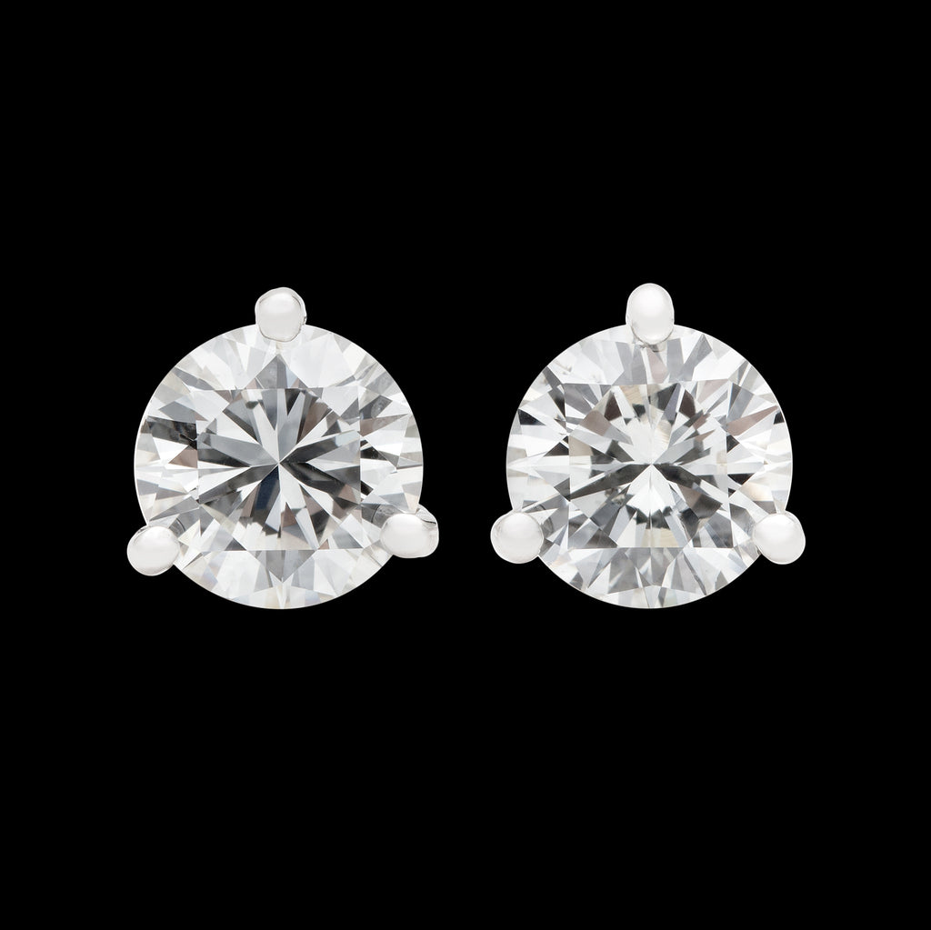 platinum g vs h stud martini earrings prong diamond ctw in