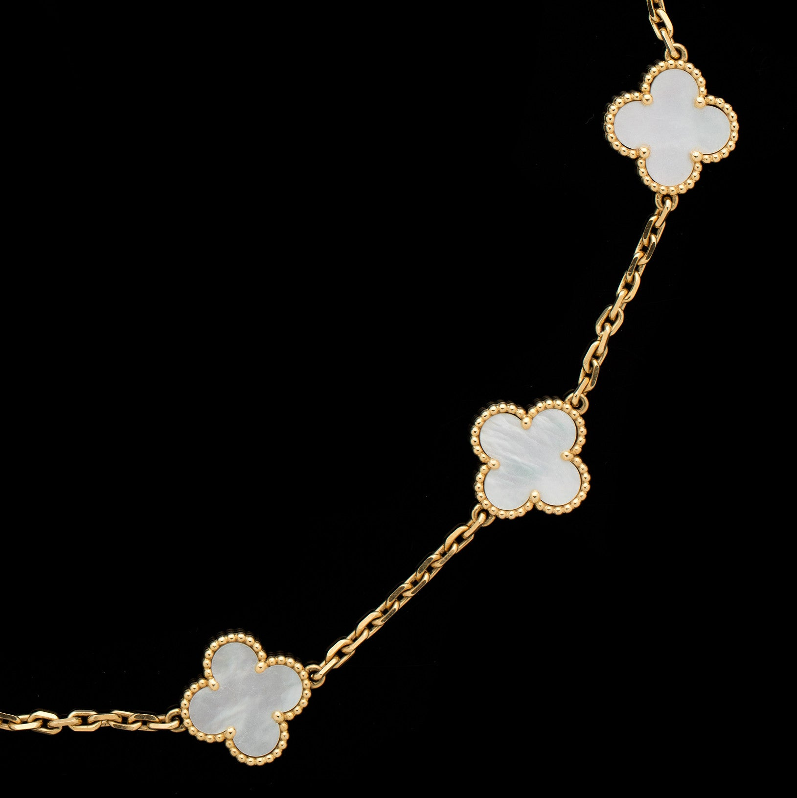 Van Cleef & Arpels Alhambra 10 Mother of Pearl Clover Motifs Necklace