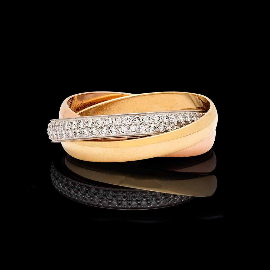 b76cec18120 Cartier Diamond and 18k Tri-Color Gold Trinity Band Cartier Roll Ring - 66mint  Fine Estate Jewelry