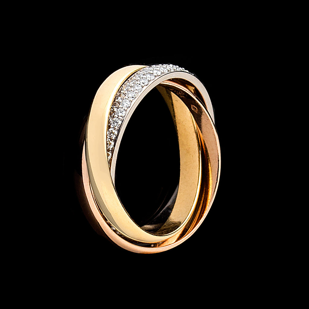 1dbbfc870c8 Cartier Diamond and 18k Tri-Color Gold Trinity Band Cartier Roll ...
