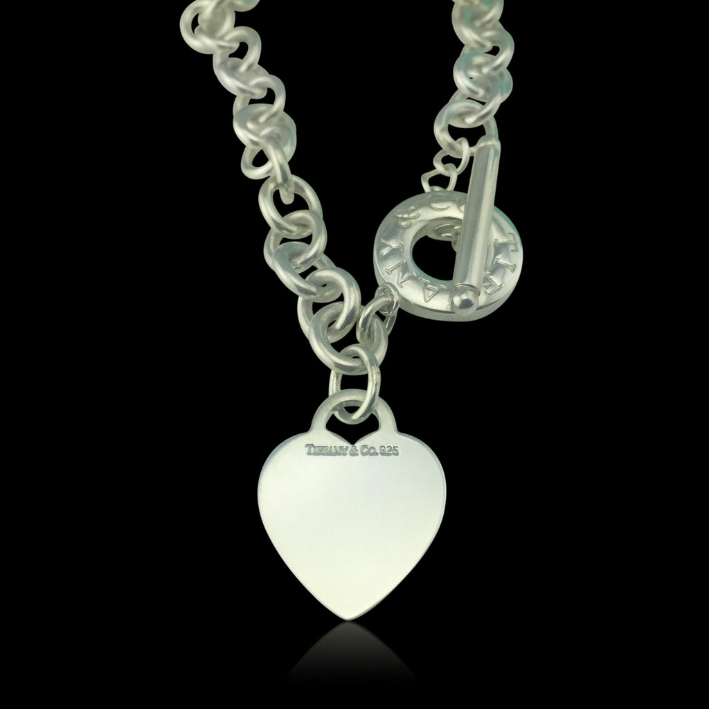 4fbc18b5e234 Sterling Silver Heart Tag Toggle Necklace Tiffany Link - 66mint Fine Estate  Jewelry